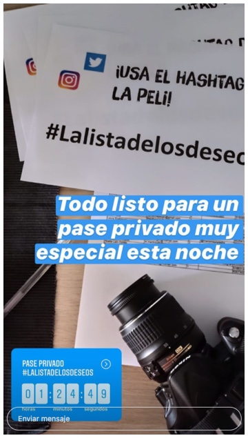 post en instagram stories de la pelicula la lista de los deseos